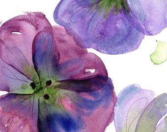 Moderne botanische kunst Print, drie viooltjes, botanische kunst