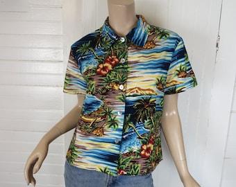 80s Hawaiian Shirt- 1980s Vintage Cropped Cotton Blouse- New Wave- Medium Punk Tropical Print Club Kid Ocean Summer Beach Kitsch