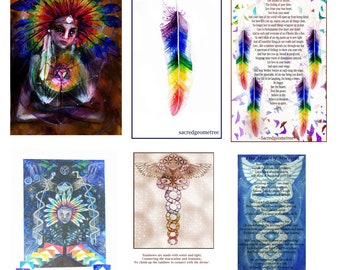 Rainbow Warrior selection of Visionary Art Shamanic Prints and poems from Spirit A4