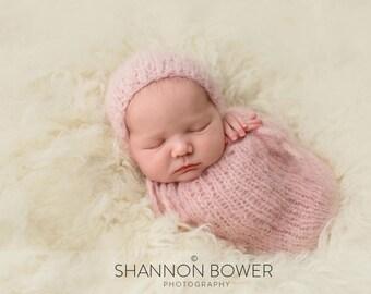 Newborn Bonnet, Newborn Swaddle Sack, Photo Prop, Choose Your Color