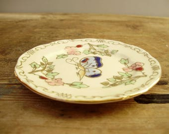 Vintage Hungarian Zsolnay porcelain ring holder,butterfly decor,hand painted