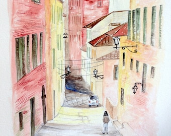 "Street scene from Siena-Italy, original watercolor painting, 9""x12"""