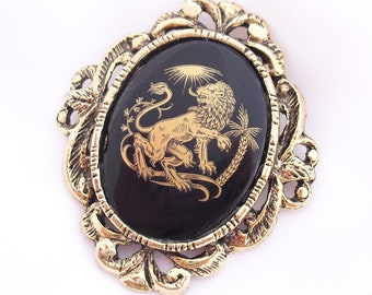 Vintage Lion Pendant Brooch, Gilt Metal and Glass Vintage Lion Jewelry, Gold and Black Pin