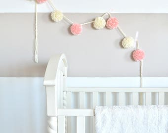 Extra Large, Chunky Yarn Pom Pom Garland - The Hannah - Pink and Cream - Girl Nursery, Party, Home Decor, Photo Prop
