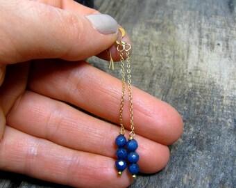 Gold Filled Earrings, Dainty Chain Earrings, Sapphire Color Jade Earrings, Minimalist Gold Earrings, Gold Filled Jewelry, Jade Earrings