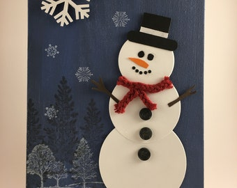 Snowman, Mixed Media, Handmade Art