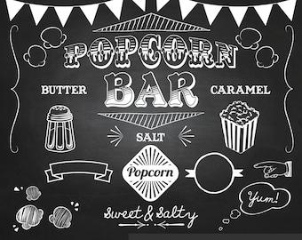 Popcorn Party Chalkboard Clipart - Digital Clip Art Graphics