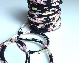 cord 4mm, Chirimen Japanese, pattern cherry blossom, black (C3005-4)