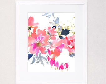 Abstract Floral Burst Watercolor Art Print