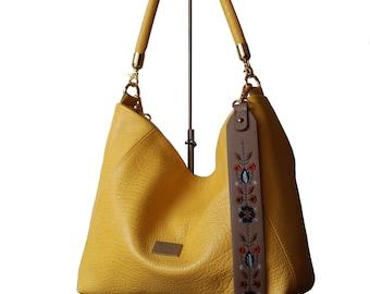 Yellow Embroidered bag, leather Yellow bag, Luxury bag, hobo bag, yellow hobo bag, yellow bags, tote bag, yellow leather, embroidery strap
