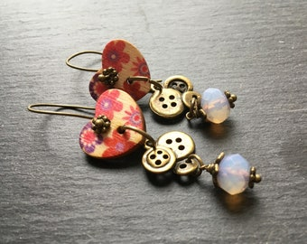Bronze and heart button dangle earrings
