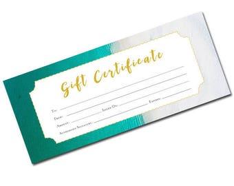 Beach Gift Certificate, Beach, blank gift certificate, Gift Certificate, Template, Printable, Blank Gift Certificate, Torquoise