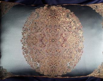 Lumbar Throw Pillow Cushion Cover Rubelli Light Blue Sherazade Silk Lampas Fabric - Handmade in Italy