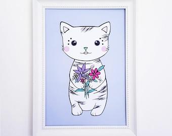 Cute Cat Art Print | Cat Print, Cat Wall Art, Kawaii Cat Print, Cat Artwork, Kitty Print, Cute Art Prints, Cat Nursery Print, Cat Wall Decor