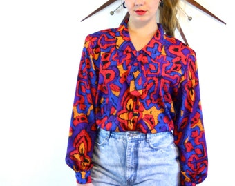 Vintage 80s Pussybow Blouse Womens Geometric Print Bright Colorful Red Blue Long Sleeve Top Button Down Ascot Pussy Bow Collar 1980s Shirt