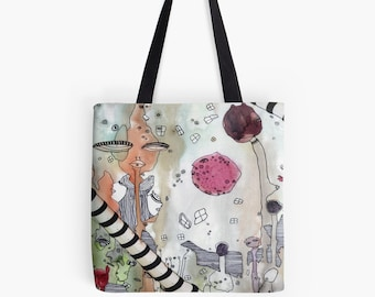 Tote Bag beach bag funky tote bag mixed media tote original art boho tote bag painted tote bag colorful tote bag computer bag art tote bag
