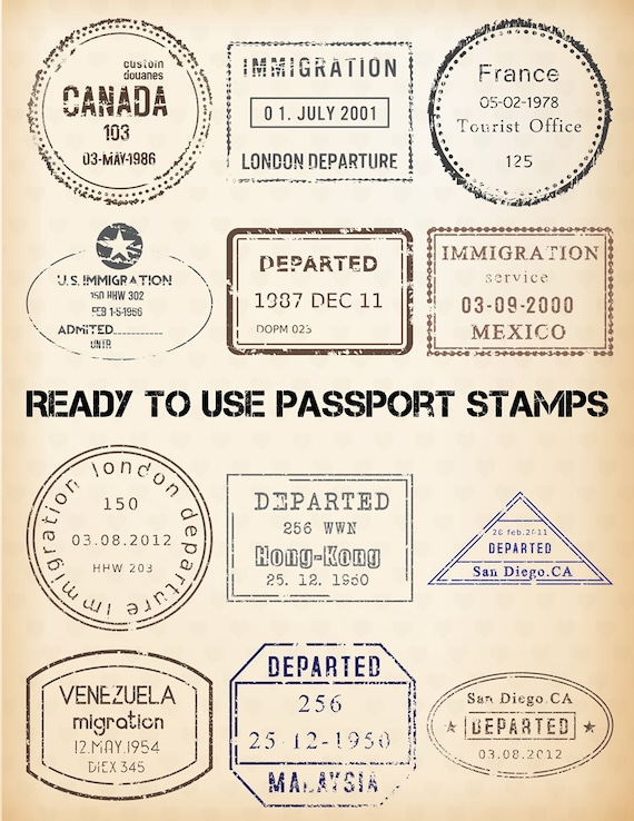 PASSPORT STAMP Clipart - 24 Digital Clip Art Images - EDITABLE ...