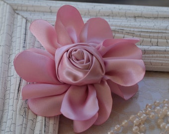 "Satin Fabric Roses, Rolled Rosettes, Mauve Satin Rolled Rosettes, 3"" Satin Roses, Rolled Roses, Rolled Satin Roses, A12"