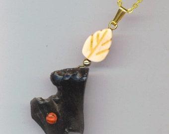 Found Dark Shark Tooth& Leaf Necklace. Sea Shore wabi-sabi Pendant. Off White Leaf. Ocean Necklace- Everyday Beach by enchantedbeads on Etsy