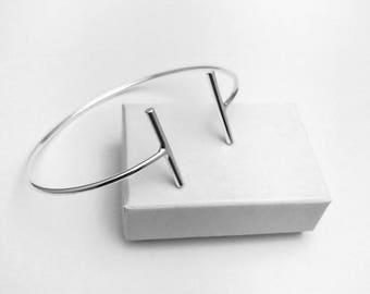 Minimalist Geometric Design Sterling Silver Cuff Bangle