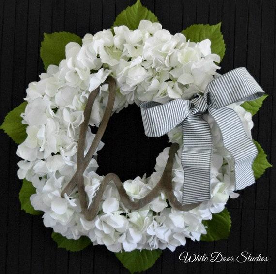 White Hydrangea Welcome Front Door Wreath