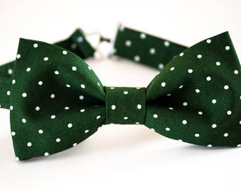 Dark green bow tie, green white polka dot bow tie, boy's bow tie, wedding bow tie for men, groomsmen bow tie, ringboy bow tie