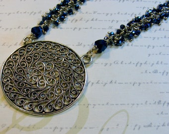 Blue Swirls-chain and glass beaded necklace with pendant, 30 1/2 inches or 77.5 cm
