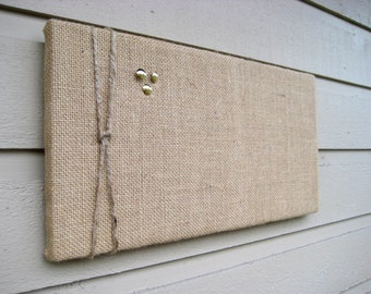 Bulletin Pin Board in Natural Burlap accented with natural jute twine for a Nautical styled decor, custom options available