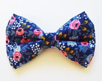Navy Flower bow ties, boy bow tie, baby bow tie, adult bow tie, men's bow tie,navy bow tie, floral bow tie, wedding bow tie