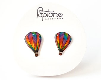 Hot Air Balloon Earrings, balloon earrings, air balloon studs, rainbow pride earrings