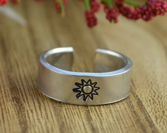 Sun Adjustable Ring- Hand Stamped Aluminum Sun Ring - Any Size 4, 5, 6, 7, 8, 9, 10, 11, 12, 13, 14 half and quarter sizes available