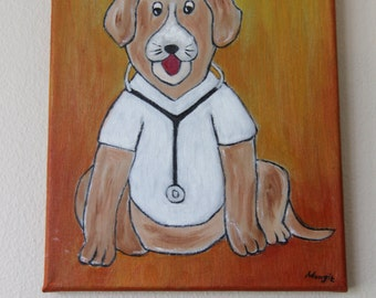 "Painting of dog nurse, in acrylic and oil on canvas (Canvas 8 ""x 10 children)."