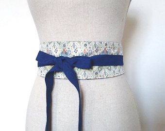 OBI belt silk reversible belt, belt, wedding, underbust, women blue belt, multicolor silk, silk obi belt