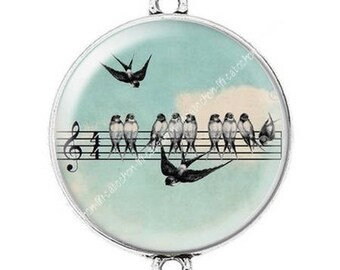 Great sheet music bird c25 cabochon silver connector