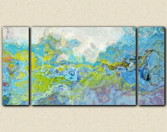 """Oversize triptych contemporary abstract expressionism canvas print, 30x60 to 40x78 in blue and green, from abstract painting """"Slip 'n Slide"""""""