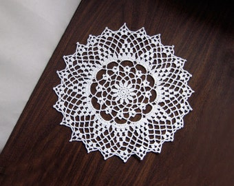 White Lace Flower Crochet Doily, Cottage Chic Home Decor, Spring Table Decoration, Wedding Gift, Elegant, 12 Inch Doily