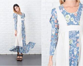 Blue Hippie Maxi Dress Vintage 70s Victorian Puff Slv Floral Crochet Lace XXS 8399 blue dress hippie dress maxi dress victorian dress