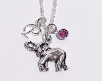 Elephant Necklace, Silver Elephant Necklace, Personalized Birthstone Necklace, Good Luck Elephant, Friendship Necklace, Elephant Jewelry