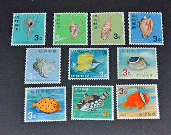 Ryuku 10 mint stamps 1966-1968