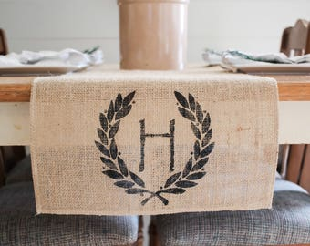 Monogram letter runner,Burlap Table Runner, Table Runner home decor, Farmhouse Table Runner, wreath circle monogram *Free Shipping *