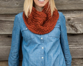 Chunky Button Cowl Scarf - Red Spice
