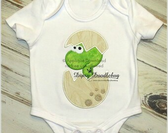 Baby Dinosaur in an Egg Applique Design - Instant EMAIL with Download - for Embroidery Machines