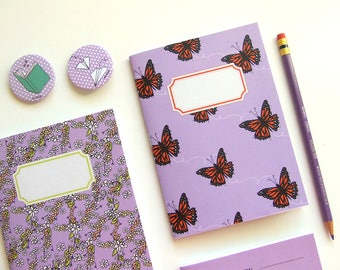 Purple Journal with Monarch Butterflies - Pocket size Notebook - Original Illustration - A6 Notebook - Blank Pages