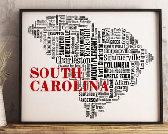 South Carolina Map Art, South Carolina Art Print, South Carolina City Map, South Carolina Typography Art, South Carolina Wall Decor