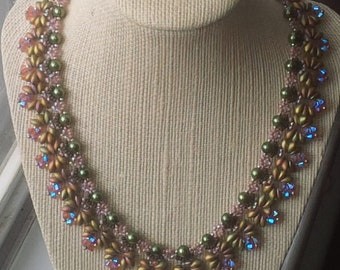 "lovely ""Enchanted Forrest"" woven bead necklace with swarovski crystals"