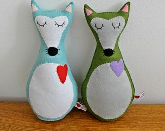 Large Felt Fox Plushies Ready to Ship