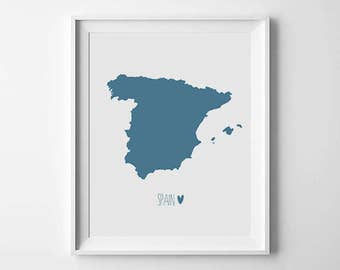 Spain Map Print, World Map Print, World Map Wall Art, Country home decor, Travel decor, map printable, Digital print, Instant Download