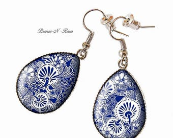 Ornaments blue Chinese Red cabochon drop earrings bronze-n-roses-Christmas gift