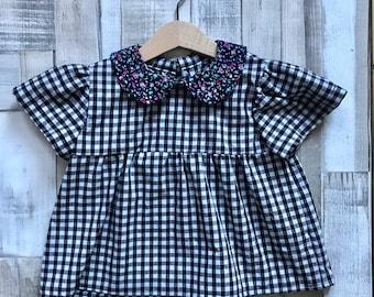 Girls Gingham Blouse - Girls Cotton Blouse - Gingham Top - Peter Pan Collar Shirt - Blouse for girls - Monochrome Girls Clothing