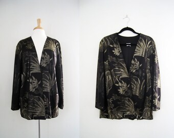 On Sale! Vintage 1980s Metallic Gold and Black Floral Print Jacket  / Jersey Wrap Top / Blouse - Size Large